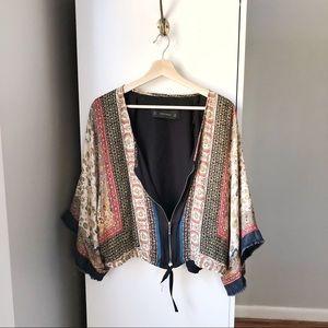 Zara Basic paisley zip fringe sleeve cardigan 624A